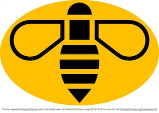 Yellow bee logo vector badge