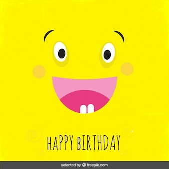 Yellow cartoon birthday card