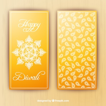 Yellow diwali banners