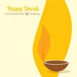 Yellow diwali flame greeting card