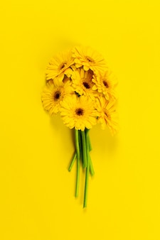 Yellow flowers on a yellow table