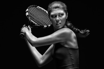 Yellow man tennis racket woman