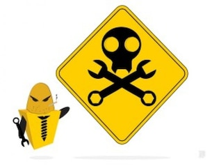 Yellow robot construction danger sign vector