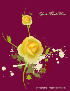 Yellow rose with stains background