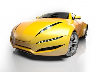 Yellow sport car on white background
