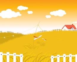 yellow village landscape