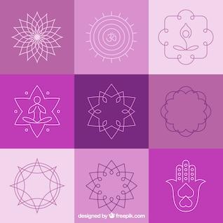 Yoga abstract badges and symbols