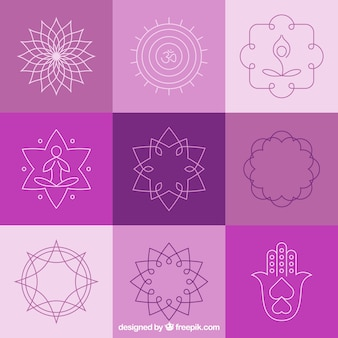 Yoga abstract badges and symbols
