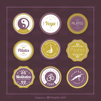 Yoga and pilates vector labels