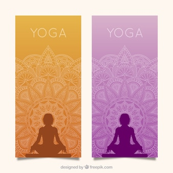 Yoga banners with mandala
