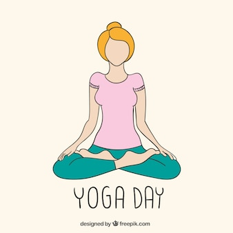 Yoga day drawing