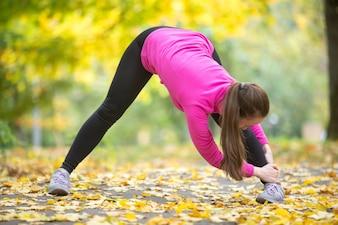 Yoga outdoors: Wide Legged Forward Bend Pose