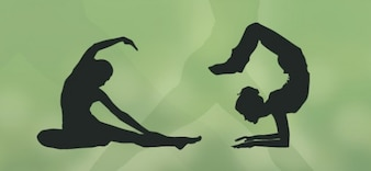 yoga silhouettes set