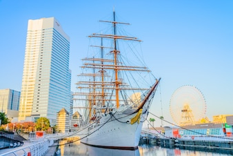 YOKOHAMA, JAPAN - November 24 : Nippon Maru Boat in Yokohama, Ja