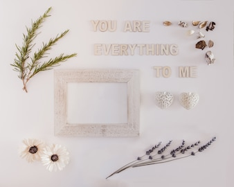 You are everything to me message in a lovely composition