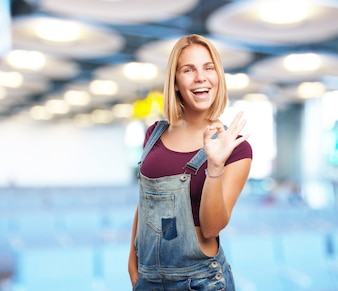 Young blond girl. happy expression