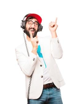 ヘッドフォンで若い狂ったビジネスマン