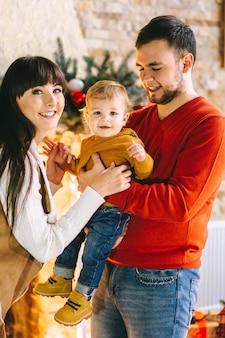 若い、家族、クリスマス、インテリア