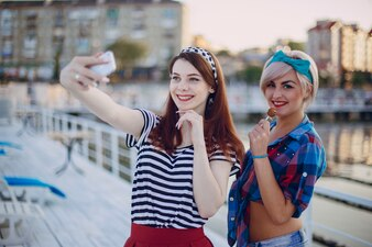 Young girls posing for a selfie