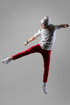 Young man jumping and screaming