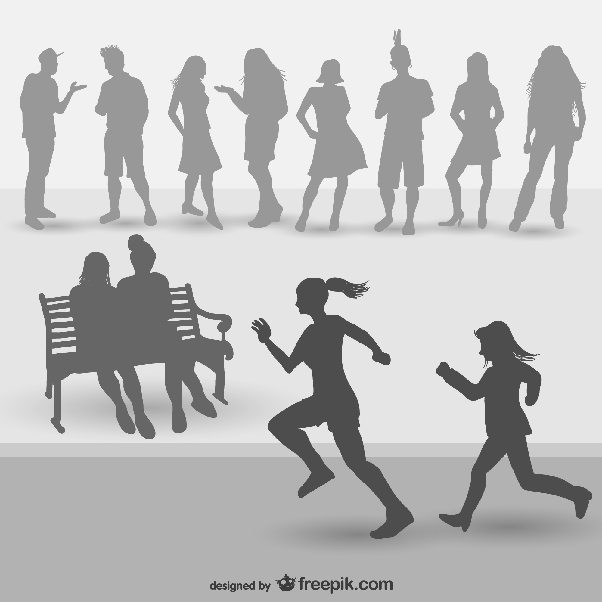Young people silhouettes vector set