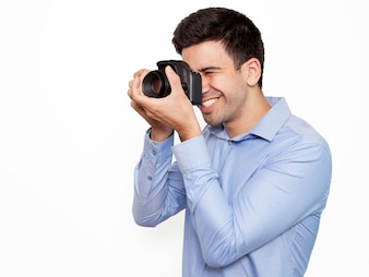 Young professional frame picture cheerful
