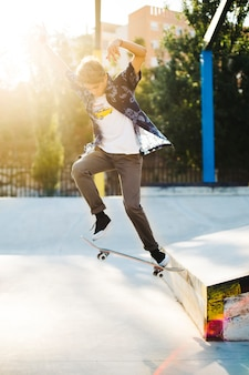 Young skater with an air trick