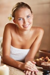 Young woman in towel ready for spa