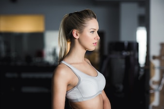 Young woman resting after exercises