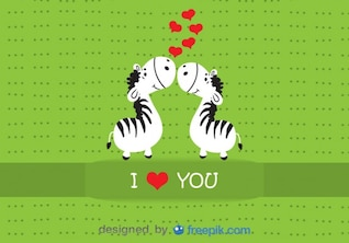 Zebras Kissing Valentine's Day Cartoon Card