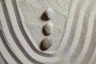 Zen garden with raked sand and stones