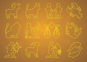 Zodiac icons vector sign & symbols