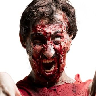 Zombie closely with mouth open