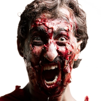 Zombie face screaming
