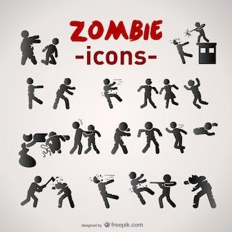 Zombie icons set
