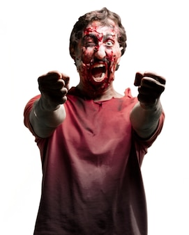 Zombie shouting with clenched fists
