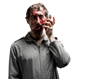Zombie talking on his phone