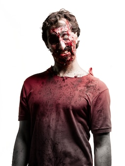 Zombie with a white eye and one black