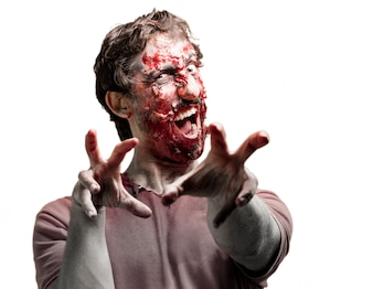 Zombie with bloody hands