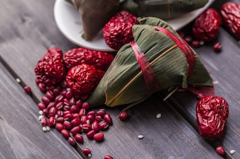 Zongzi covered with red fruits
