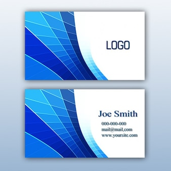 青色のビジネスカードのデザイン