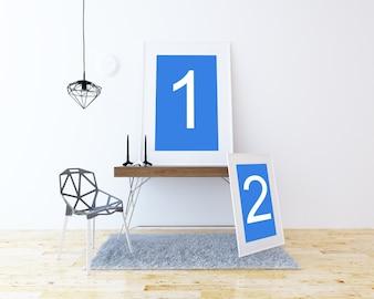 テーブル上の2つのフレームがモックアップ