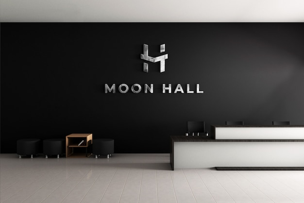 3d logo mockup office wall with realistic steel texture