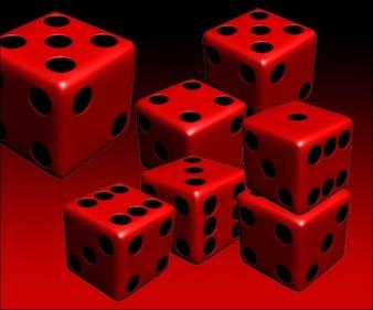 3d red dice PSD