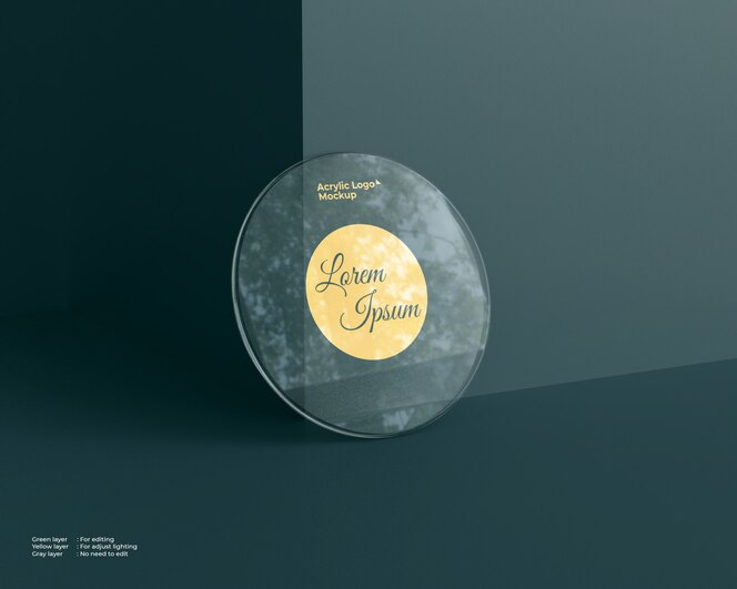 Acrylic glass logo mockup circle shape