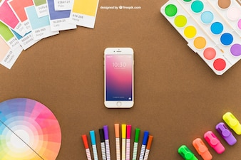 Art concept with smartphone and pencils