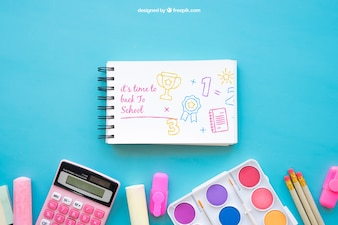 Back to school mockup with notepad and chalk