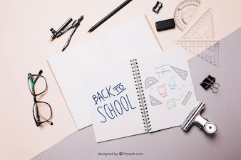 Back to school mockup with paper and notebook