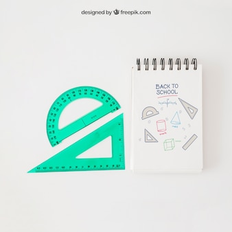 Back to school mockup with set squares