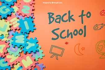 Back to school template with colorful jigsaw
